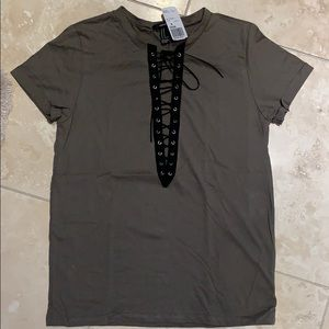 Forever 21 Lace-up T-shirt